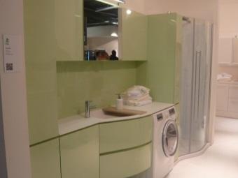 Цветная подвесная тумба с раковиной под стиральную машину из МДФ