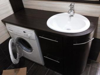 Тумба из МДФ с раковиной под стиральную машину