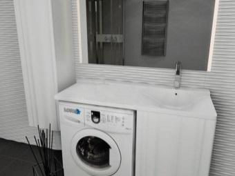 """Белая тумба с раковиной под стиральную машину от компании """"Водолей"""""""