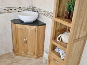 Угловая напольная тумба с умывальником для ванной комнаты