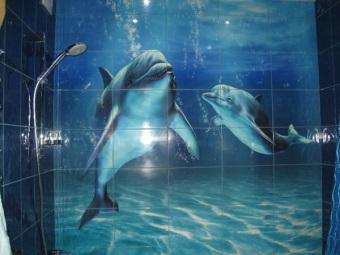 3D-плитка для стен ванной комнаты с дельфинами