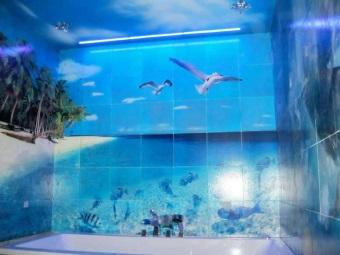 3D-плитка для ванной комнаты - море, чайки, пляж с пальмами