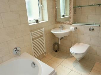 Маленькая угловая раковина в интерьере ванной комнаты, совмещенной с туалетом
