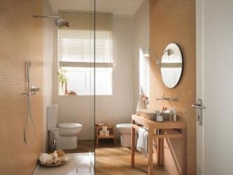 Интерьер ванной комнаты, совмещенной с туалетом разграниченный душевой кабиной стоящей в центре