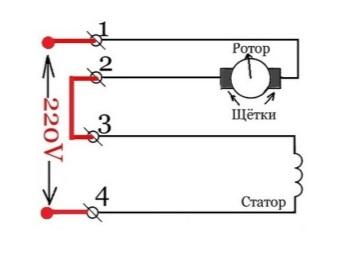 Схема подключения коллекторного двигателя стиральной машины