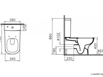 схема монтажа безободкового подвесного унитаза