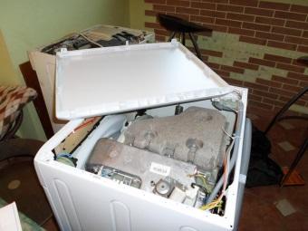 снятие крышки со стиральной машины