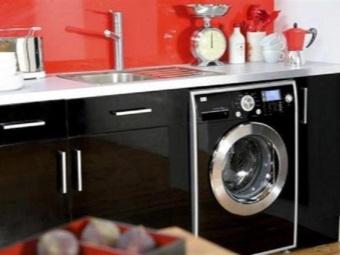 черная стиральная машина на кухне