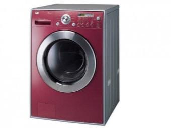 узкая стиральная машина LG бордового цвета