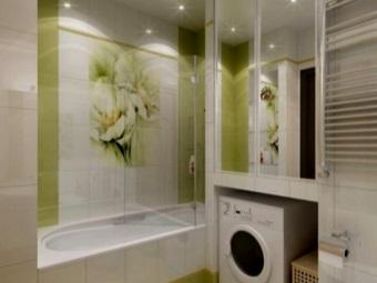 стиральная машина под столешницей в ванной
