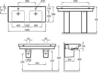 схема установки навесной раковины