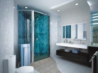 двойная раковина накладного типа в интерьере ванной