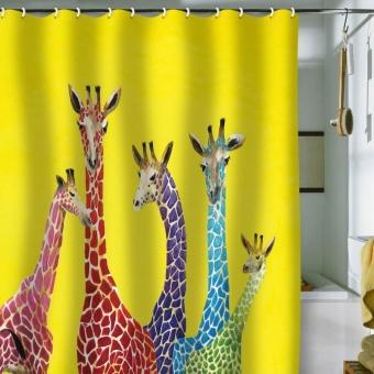 Желтые занавески в желтой ванной комнате