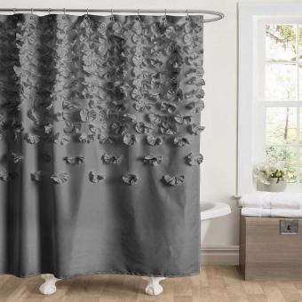 Тканевая дизайнерская шторка с декором в ванной комнаты