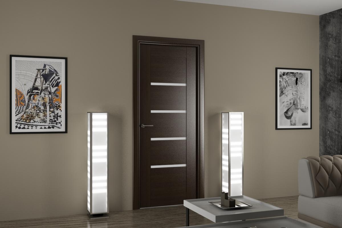 Гладкие облегченные двери  белые серые покраска дверей