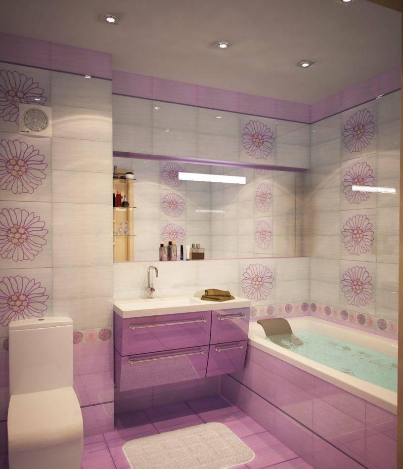 Дизайн ванной фото сиреневого цвета плитка 33