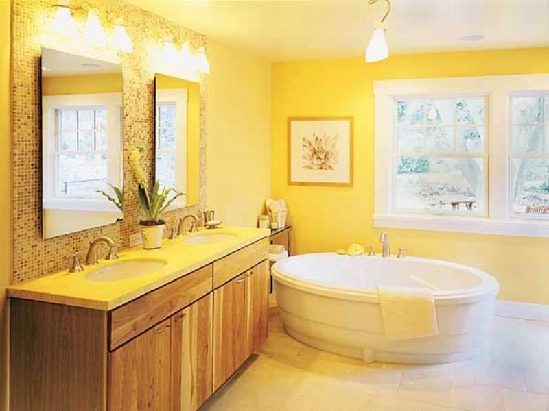 Желтая ванная комната бело желтый дизайн и другие