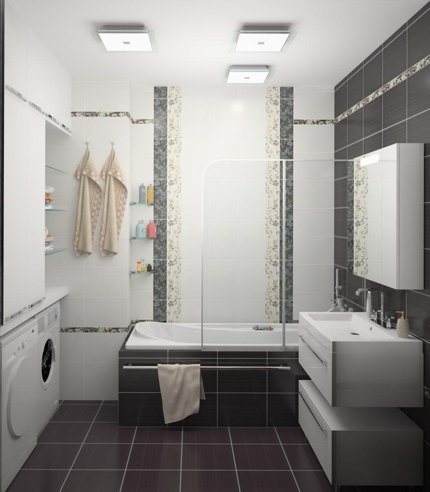 Дизайн кафельной плитки в ванной: Дизайн маленькой ванной комнаты: меняем размер