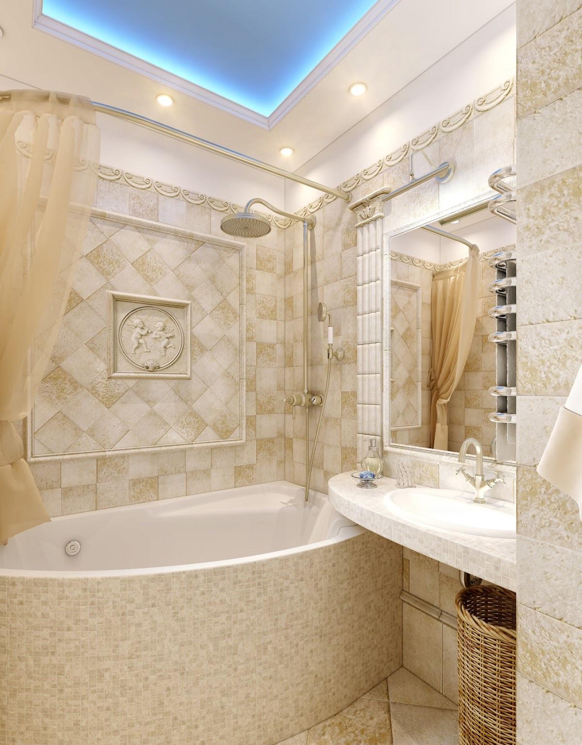 Дизайн ванной комнаты в бежевых тонах фото