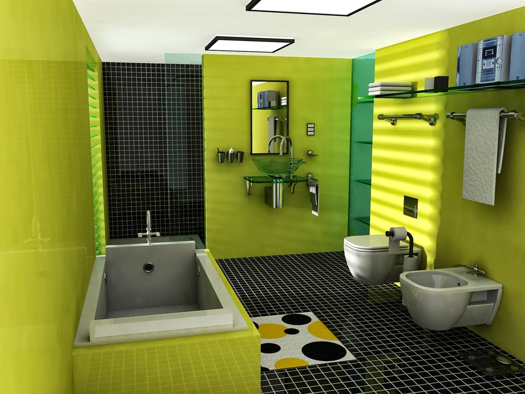 С каким цветом сочетается зеленый цвет в интерьере ванной
