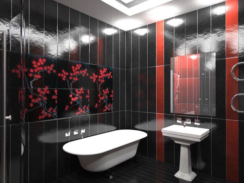 Черно красная ванная комната фото
