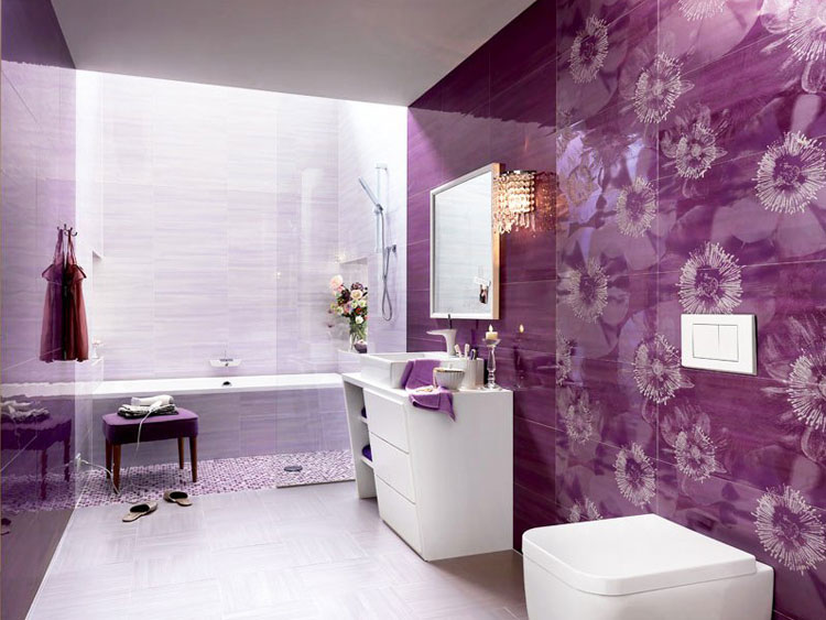 Дизайн ванной фото сиреневого цвета плитка 16