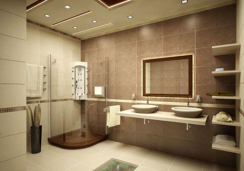 фото ванная в бежевых тонах