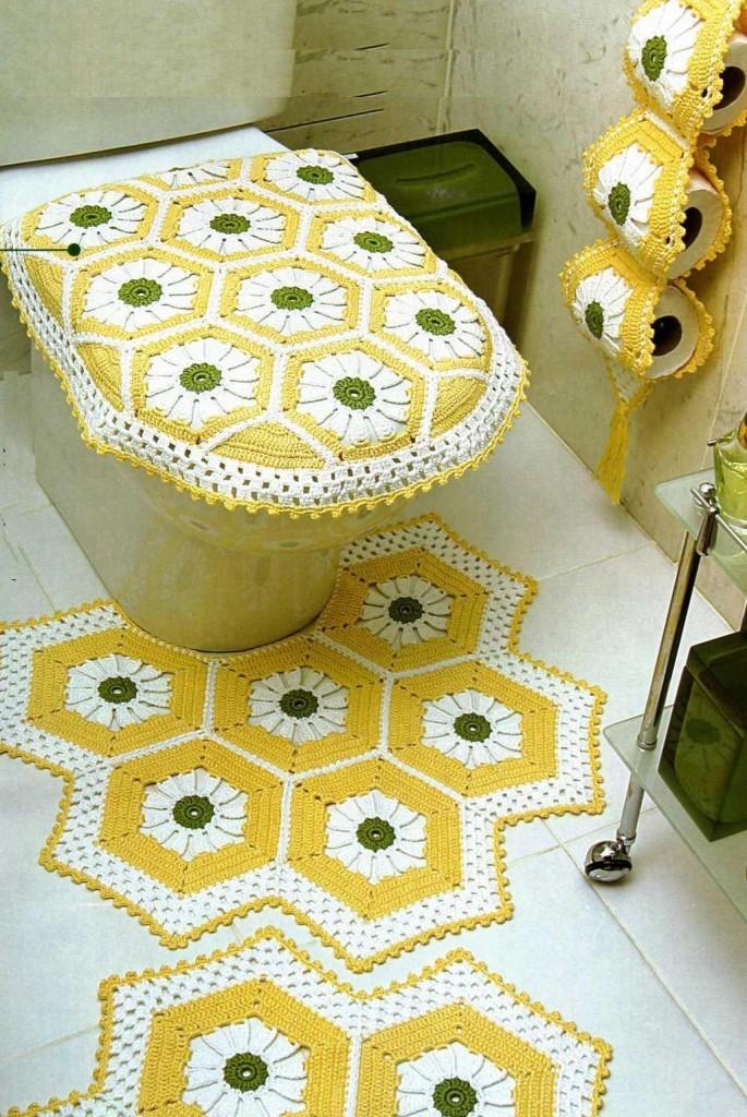 Вязание крючком коврик в туалет