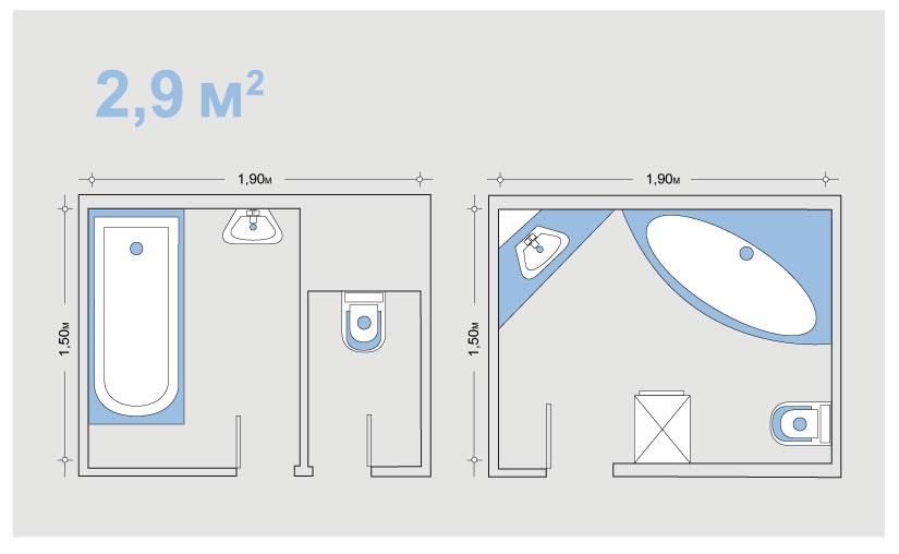 Дизайн ванной комнаты 2 кв м с душевой кабиной