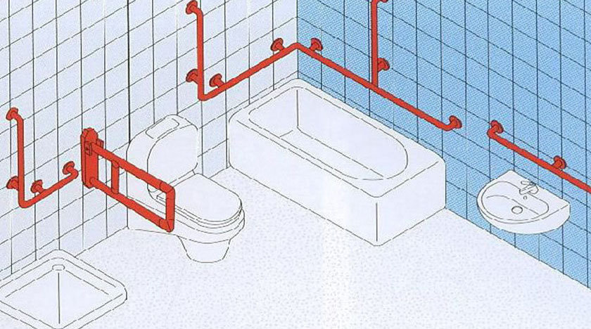 Поручни для инвалидов в ванной комнате и туалете: откидные, настенные, их установка