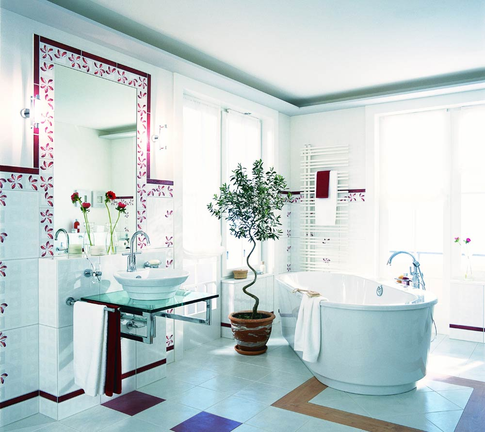 Кафель для ванной комнаты фото цветы