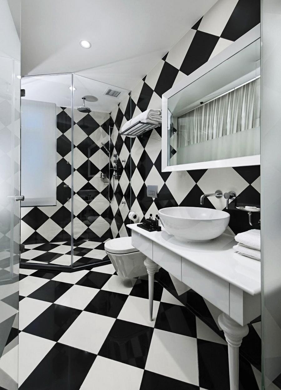 ванная комната дизайн фото черно-белая