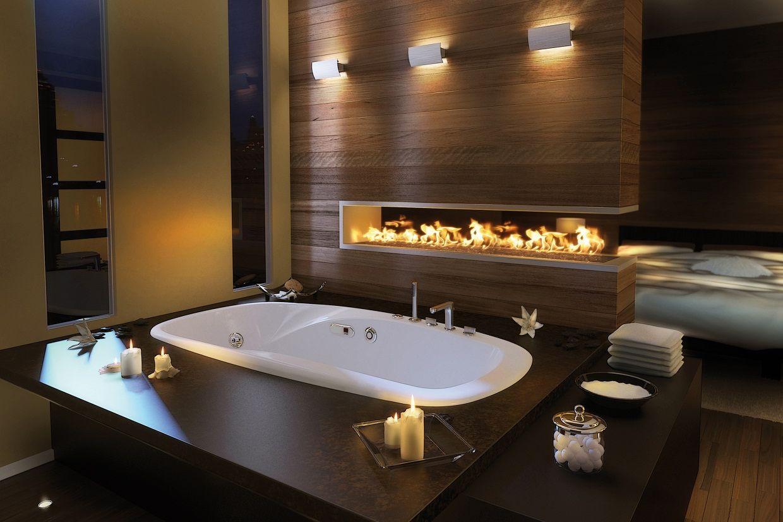 Дизайн большой современной ванной комнаты