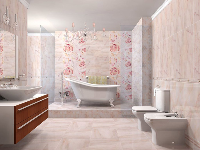 for Deco salle de bain rose pale