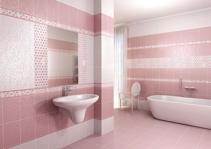 Розовая плитка в ванной с декором