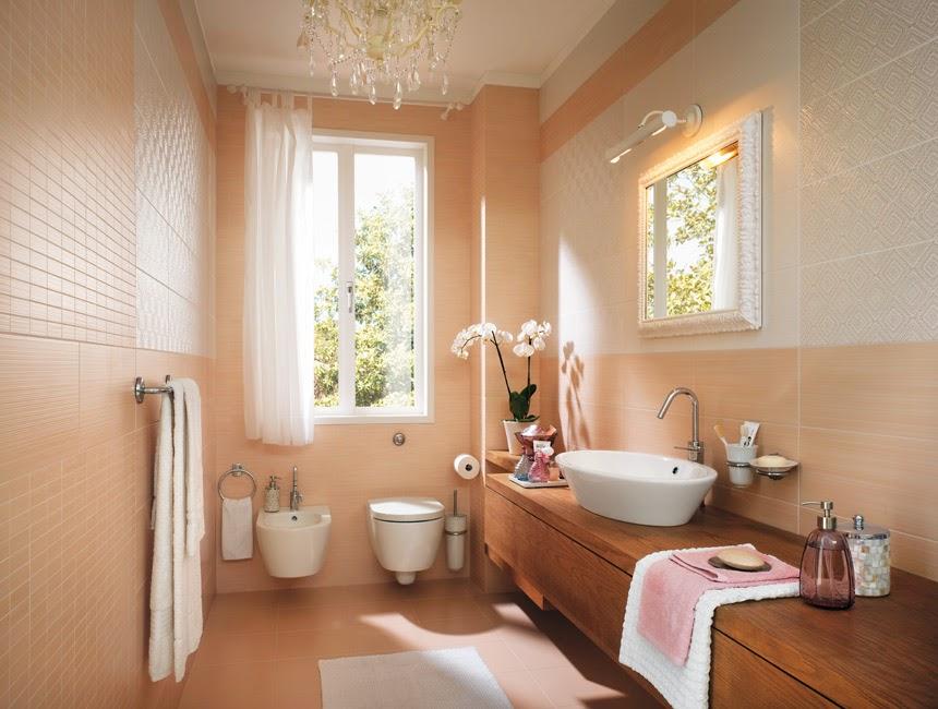 Персиковая ванная комната фото