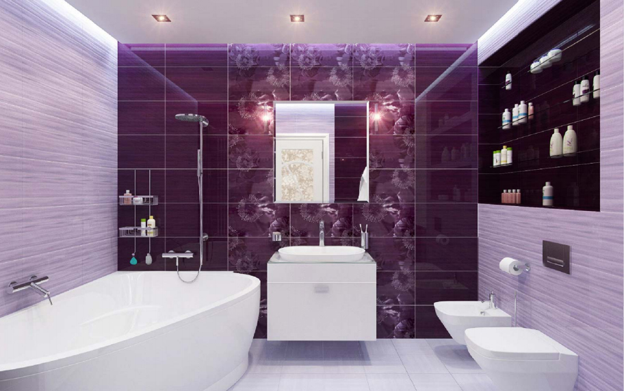 Дизайн ванной фото сиреневого цвета плитка 446