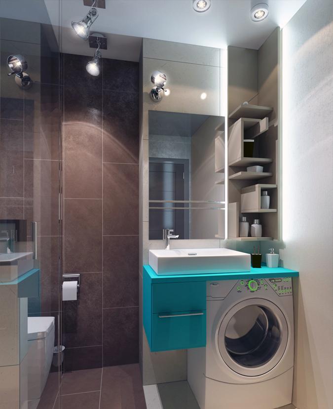 Кухни Дизайн ванной комнаты с машинкой