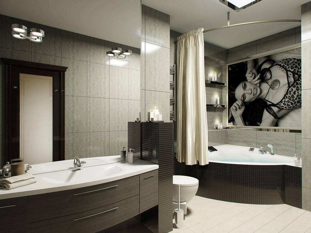 Дизайн ванные комнаты с угловой ванной дизайн