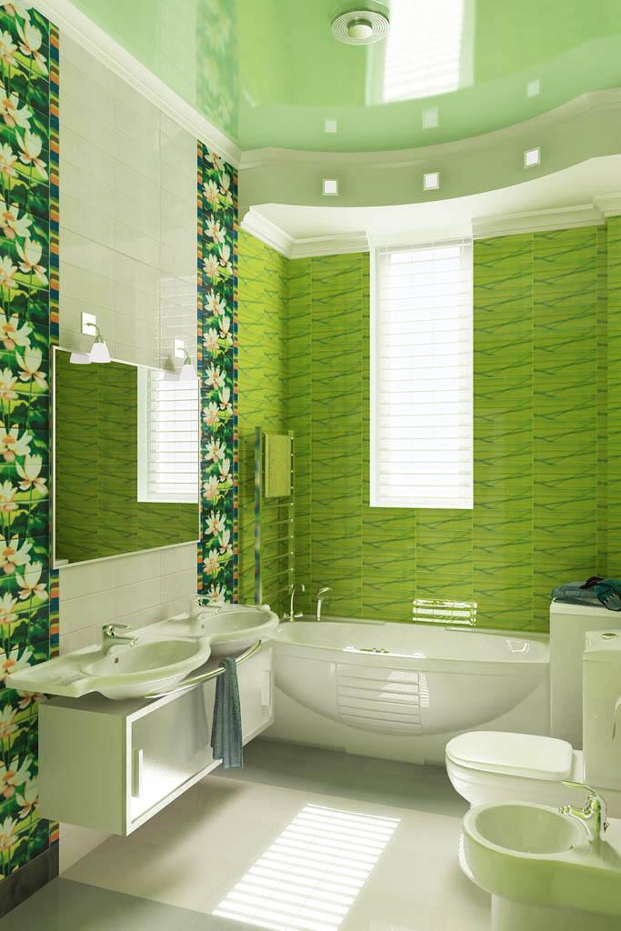 ванна в зеленых тонах