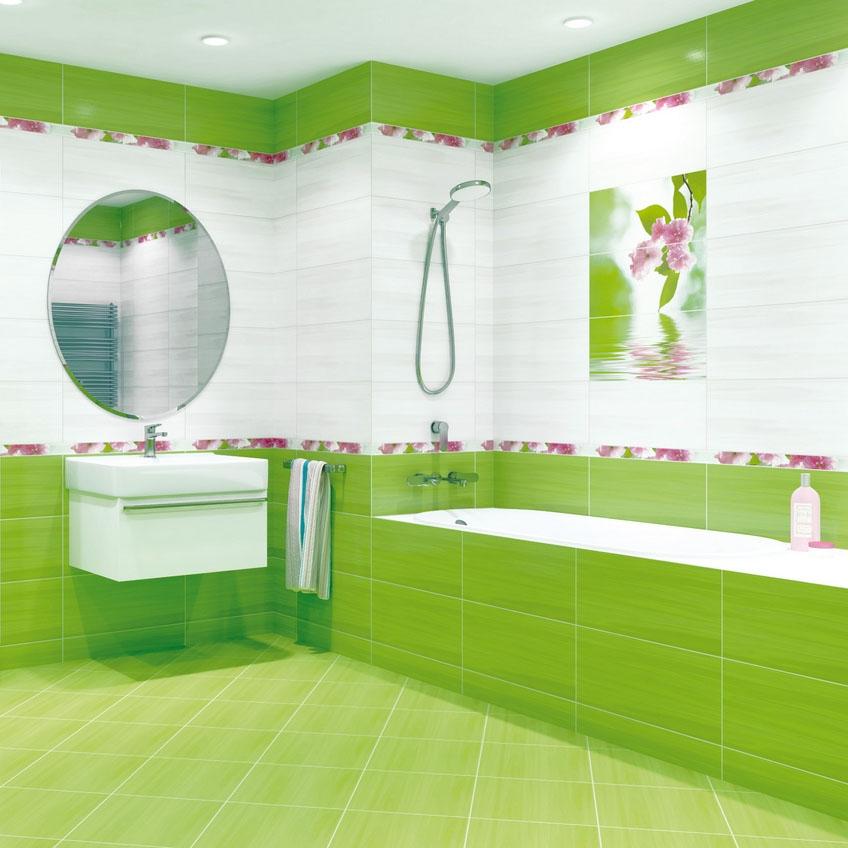 Зеленая с цветами ванная комната фото