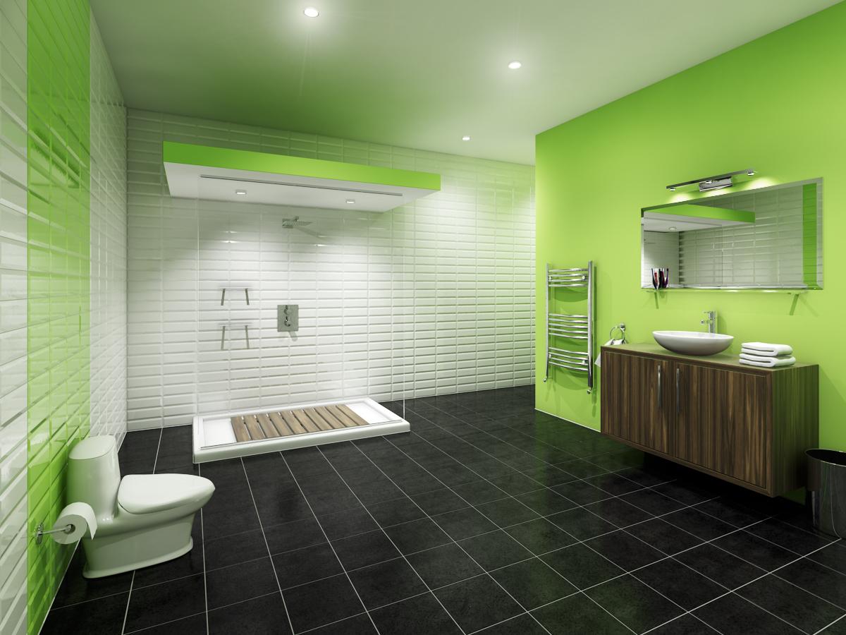 Ванная комната зелёный дизайн