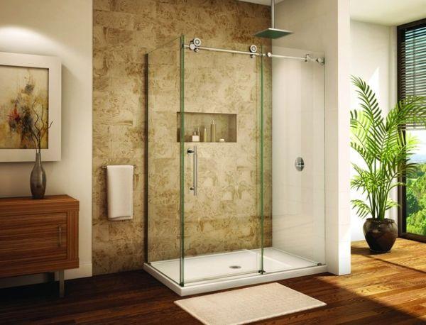 Дизайн ванной комнаты с душевой перегородкой из стекла