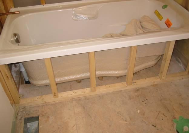 Установка ванны на каркасе своими руками фото