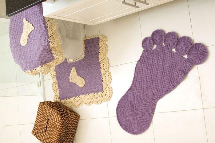 Коврики, вязаные крючком, в ванную и туалет своими руками ...