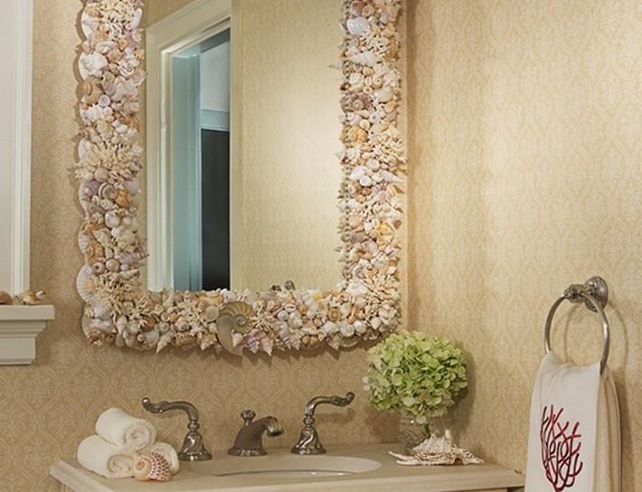 Зеркало в ванную своими руками: как украсить, декор и красивое оформление