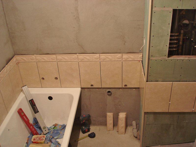 Уложить плитку в ванной своими руками фото