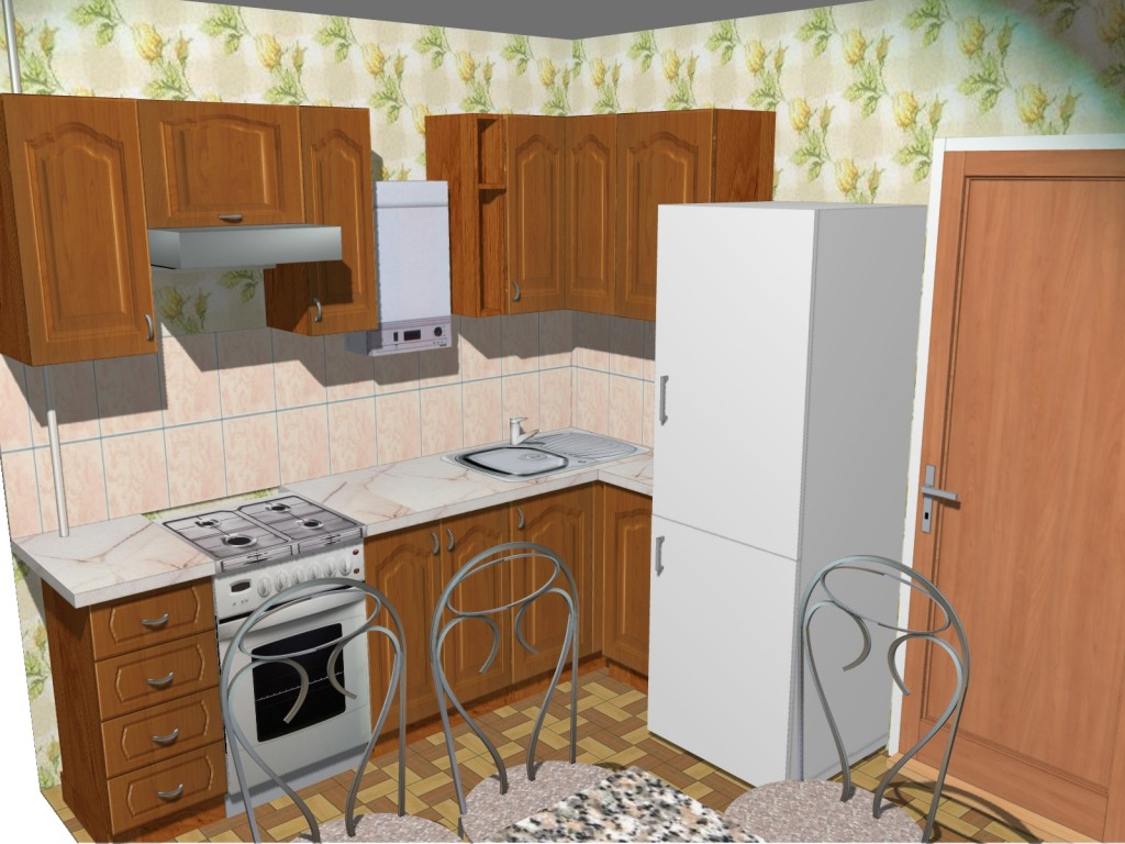 Маленькая кухня с газовой колонкой и холодильником