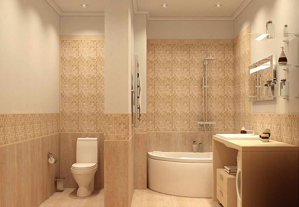 Дизайн ванной в бежевых тонах с яркими акцентами