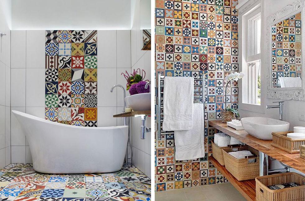 цветная плитка в ванной дизайн фото